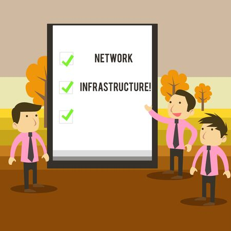 Writing note showing Network Infrastructure. Business concept for Hardware and Software resources In and Out Connection Business Colleagues Discuss Missions Presentation Whiteboard Ticks