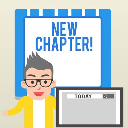 Handwriting text writing New Chapter. Conceptual photo Starting ultimately something goals created in your mind Male Speaker Monitor with Search Tool on Screen Presentation or Report