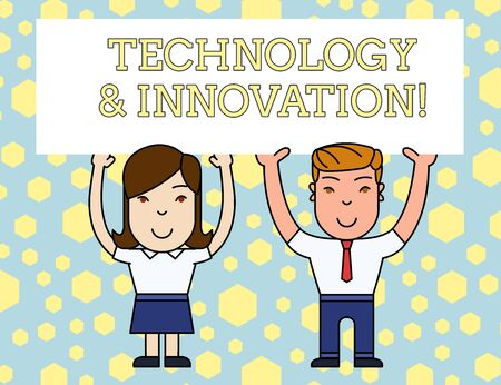 Word writing text Technology And Innovation. Business photo showcasing Application of better Solution for New Market Need Two Smiling People Holding Big Blank Poster Board Overhead with Both Hands