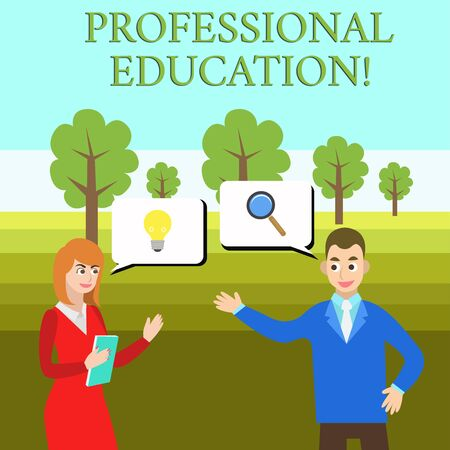 Word writing text Professional Education. Business photo showcasing Continuing Education Units Specialized Training Business Partners Colleagues Jointly Seeking Problem Solution Generate Idea 写真素材