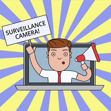 Writing note showing Surveillance Camera. Business concept for Closed Circuit Television transmit signal on monitors Man Speaking Through Laptop into Megaphone Plate with Handle Standard-Bild - 124491820