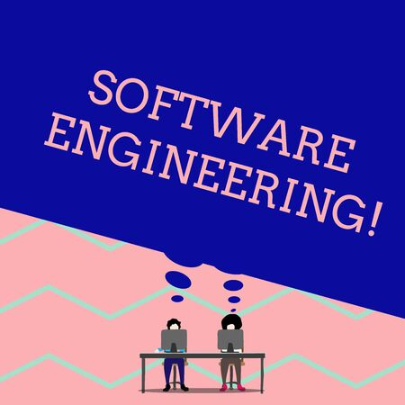 Word writing text Software Engineering. Business photo showcasing Program Development in Systematic Quantifiable approach Man with purple trousers sit on chair talk to fellow near computer table 免版税图像