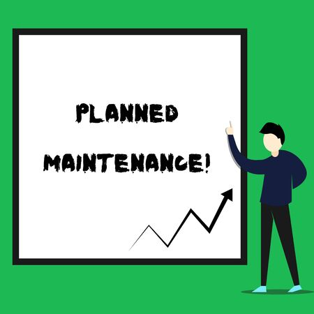Writing note showing Planned Maintenance. Business concept for Check ups to be done Scheduled on a Regular Basis Young man standing pointing up rectangle Geometric background