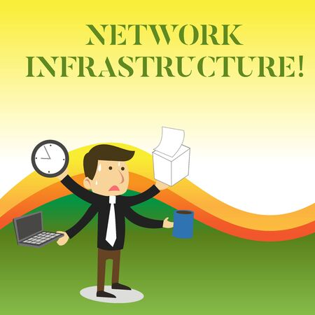 Text sign showing Network Infrastructure. Business photo showcasing Hardware and Software resources In and Out Connection Stressed Out Male Employee Manager Many Armed Multitasking Meet Deadline