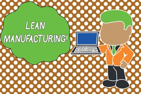 Conceptual hand writing showing Lean Manufacturing. Concept meaning Waste Minimization without sacrificing productivity Standing businessman holding open laptop right hand side Stock Photo