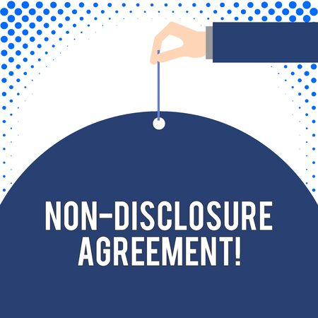 Handwriting text Non Disclosure Agreement. Conceptual photo Legal Contract Confidential Material or Information Male hand arm needle punching big half blank balloon geometrical background