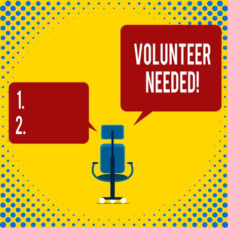 Writing note showing Volunteer Needed. Business concept for asking demonstrating to work for organization without being paid Executive chair sharing two blank square speech bubbles right left side