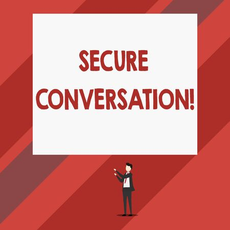 Writing note showing Secure Conversation. Business concept for Secured Encrypted Communication between Web Services Isolated view man standing pointing upwards two hands big rectangle Banque d'images