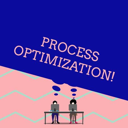Word writing text Process Optimization. Business photo showcasing Improve Organizations Efficiency Maximize Throughput Man with purple trousers sit on chair talk to fellow near computer table