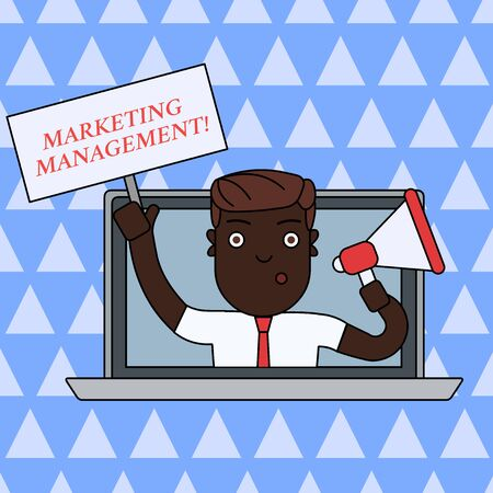Handwriting text writing Marketing Management. Conceptual photo Develop Advertise Promote a new Product or Service Man Speaking Through Laptop Screen into Megaphone Blank Plate with Handle Stok Fotoğraf