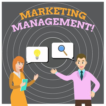 Conceptual hand writing showing Marketing Management. Concept meaning Develop Advertise Promote a new Product or Service Business Partners Colleague Jointly Seeking Problem Solution