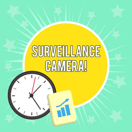 Writing note showing Surveillance Camera. Business concept for Closed Circuit Television transmit signal on monitors Layout Wall Clock Notepad with Escalating Bar Graph Arrow Standard-Bild - 124502400