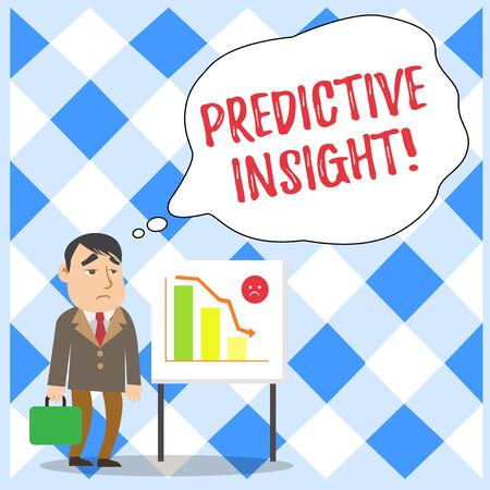 Word writing text Predictive Insight. Business photo showcasing Proactive Fault Management System an Early Detection Businessman Clerk with Brief Case Standing Whiteboard Declining Bar Chart