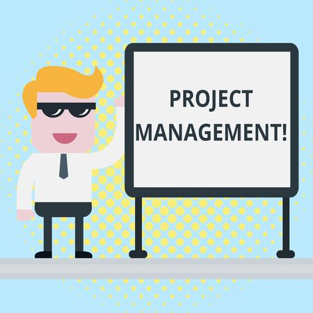 Text sign showing Project Management. Business photo showcasing Application Process Skills to Achieve Objectives and Goal Businessman Office Worker Sunglasses Blank Whiteboard Meeting Presentation