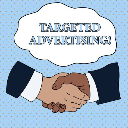 Word writing text Targeted Advertising. Business photo showcasing Online Advertisement Ads based on consumer activity Hand Shake Multiracial Male Business Partners Colleagues Formal Shirt Suit Banco de Imagens
