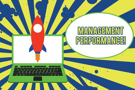 Text sign showing Management Perforanalysisce. Business photo showcasing feedback on Managerial Skills and Competencies Launching rocket up laptop . Startup project. Developing goal objectives