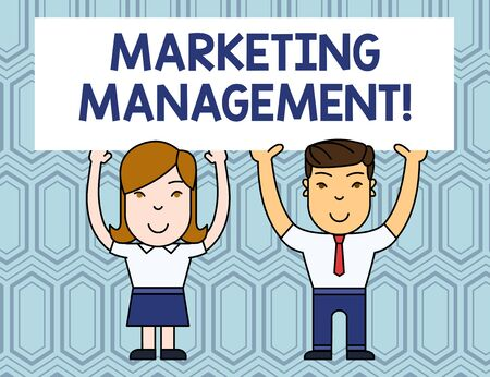 Text sign showing Marketing Management. Business photo showcasing Develop Advertise Promote a new Product or Service Two Smiling People Holding Big Blank Poster Board Overhead with Both Hands