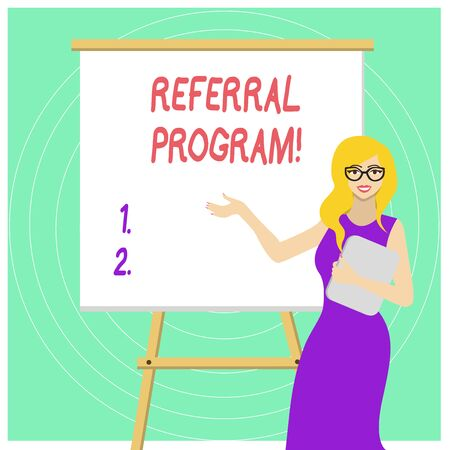 Handwriting text Referral Program. Conceptual photo internal recruitment method employed by organizations White Female in Glasses Standing by Blank Whiteboard on Stand Presentation