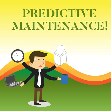 Text sign showing Predictive Maintenance. Business photo showcasing Predict when Equipment Failure condition might occur Stressed Out Male Employee Manager Many Armed Multitasking Meet Deadline