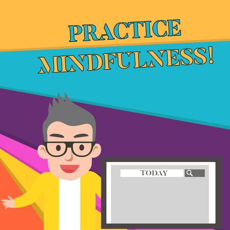 Word writing text Practice Mindfulness. Business photo showcasing achieve a State of Relaxation a form of Meditation Male Speaker Monitor with Search Tool on Screen Presentation or Report Imagens - 124509159