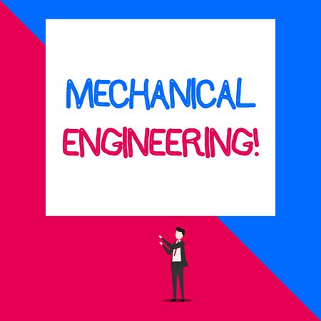 Writing note showing Mechanical Engineering. Business concept for deals with Design Manufacture Use of Machines Isolated view man standing pointing upwards two hands big rectangle Imagens - 124509175
