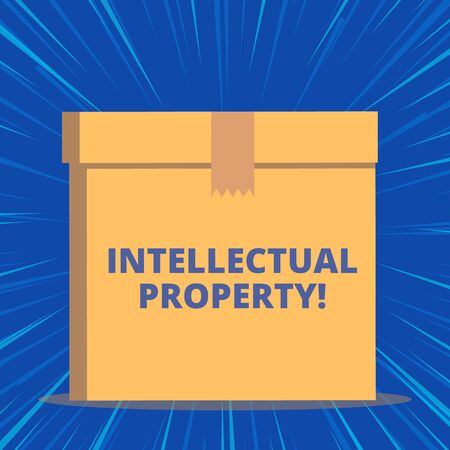 Writing note showing Intellectual Property. Business concept for Protect from Unauthorized use Patented work or Idea Close up front view brown cardboard sealed box lid. Blank background