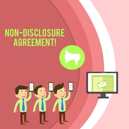 Conceptual hand writing showing Non Disclosure Agreement. Concept meaning Legal Contract Confidential Material or Information SMS Email Marketing Media Audience Attraction PC Loudspeaker