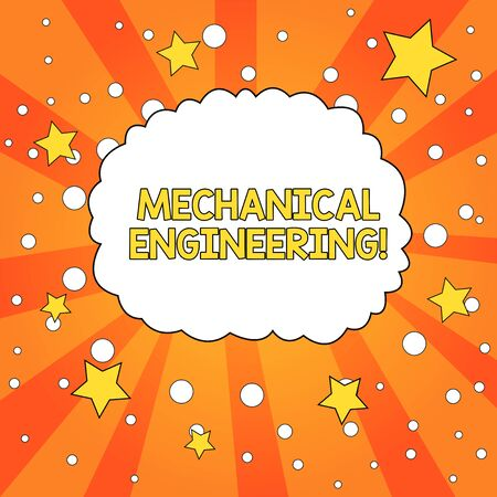Word writing text Mechanical Engineering. Business photo showcasing deals with Design Manufacture Use of Machines Blank Speech Bubble Cloud Orange Tone Sunburst Background Stars Circles Imagens - 124509287
