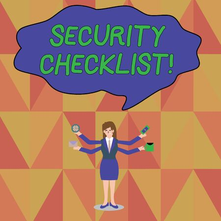 Word writing text Security Checklist. Business photo showcasing Protection of Data and System Guide on Internet Theft Businesswoman with Four Arms Extending Sideways Holding Workers Needed Item