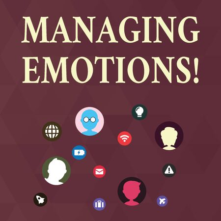 Writing note showing Managing Emotions. Business concept for ability be open to feelings and modulate them in oneself Networking Technical Icons Chat Heads on Screen for Link Up Stock Photo