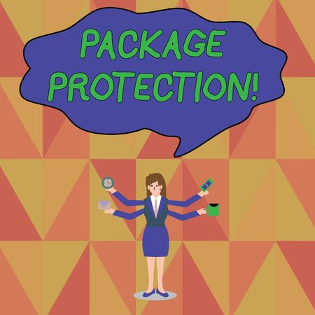 Word writing text Package Protection. Business photo showcasing Wrapping and Securing items to avoid damage Labeled Box Businesswoman with Four Arms Extending Sideways Holding Workers Needed Item