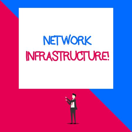 Writing note showing Network Infrastructure. Business concept for Hardware and Software resources In and Out Connection Isolated view man standing pointing upwards two hands big rectangle Imagens