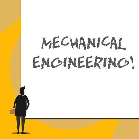 Conceptual hand writing showing Mechanical Engineering. Concept meaning deals with Design Manufacture Use of Machines Back view young woman watching blank big rectangle