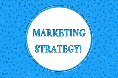 Word writing text Marketing Strategy. Business photo showcasing Scheme on How to Lay out Products Services Business Empty Round Circular Copy Space Text Balloon against Dashed Background
