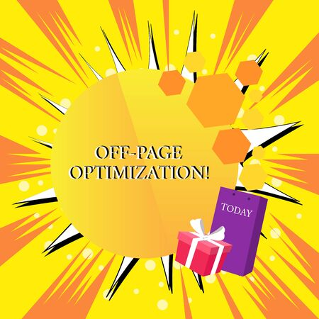 Handwriting text Off Page Optimization. Conceptual photo Website External Process Promotional Method Ranking Greeting Card Poster Gift Package Presentation Box Decorated by Bowknot