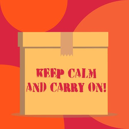 Text sign showing Keep Calm And Carry On. Business photo showcasing slogan calling for persistence face of challenge Close up front view open brown cardboard sealed box lid. Blank background Stock Photo