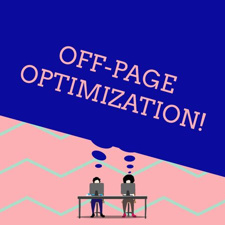 Word writing text Off Page Optimization. Business photo showcasing Website External Process Promotional Method Ranking Man with purple trousers sit on chair talk to fellow near computer table