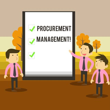 Writing note showing Procurement Management. Business concept for buying Goods and Services from External Sources Business Colleagues Discuss Missions Presentation Whiteboard Ticks