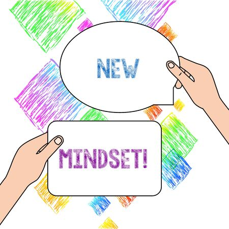 Text sign showing New Mindset. Business photo text mental attitude of demonstratings responses to certain situations Two Blank Figured Tablets Signs Held in Hands One Above Other Text Space