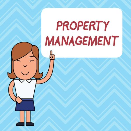 Word writing text Property Management. Business photo showcasing Overseeing of Real Estate Preserved value of Facility Woman Standing with Raised Left Index Finger Pointing at Blank Text Box