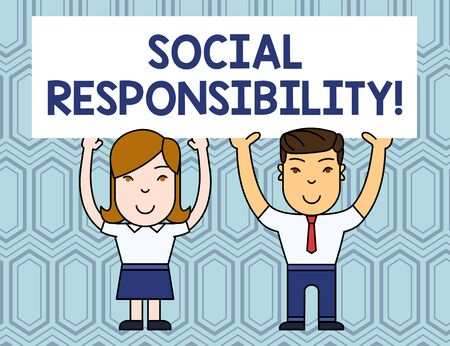 Text sign showing Social Responsibility. Business photo showcasing Obligation for the Benefit of Society Balance in life Two Smiling People Holding Big Blank Poster Board Overhead with Both Hands