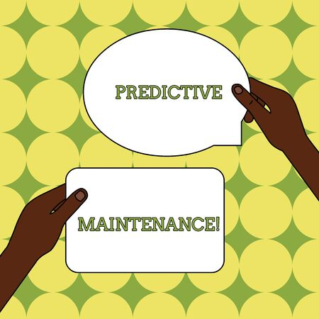 Text sign showing Predictive Maintenance. Business photo text Predict when Equipment Failure condition might occur Two Blank Figured Tablets Signs Held in Hands One Above Other Text Space Stock Photo