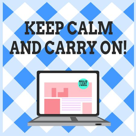 Word writing text Keep Calm And Carry On. Business photo showcasing slogan calling for persistence face of challenge Open Modern Laptop Switched On with Website Homepage on Screen Web Search