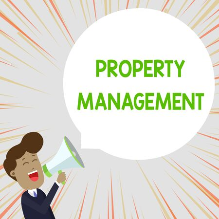Text sign showing Property Management. Business photo text Overseeing of Real Estate Preserved value of Facility Young Man Shouting into Megaphone Floating Round Shape Empty Speech Bubble Stock Photo