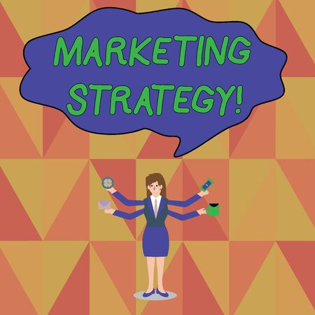 Word writing text Marketing Strategy. Business photo showcasing Scheme on How to Lay out Products Services Business Businesswoman with Four Arms Extending Sideways Holding Workers Needed Item Imagens - 124551068