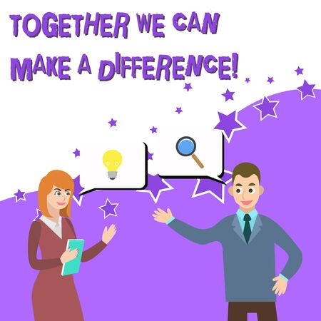 Word writing text Together We Can Make A Difference. Business photo showcasing be very important some way in like team or group Business Partners Colleagues Jointly Seeking Problem Solution Generate Idea