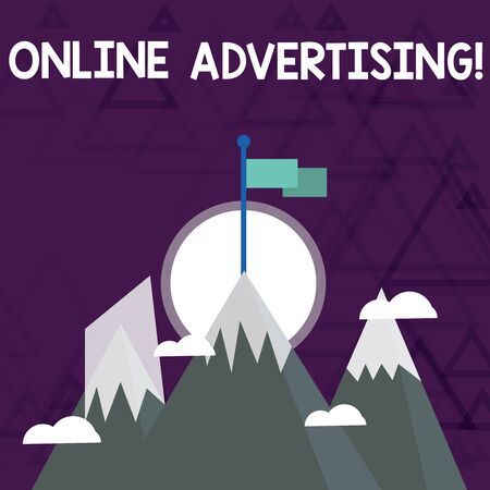 Conceptual hand writing showing Online Advertising. Concept meaning Internet Web Marketing to Promote Products and Services Three High Mountains with Snow and One has Flag at the Peak