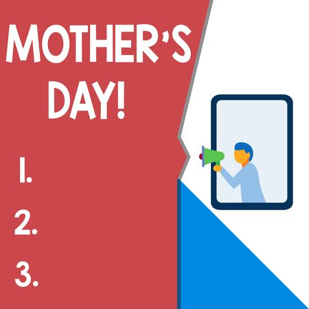 Text sign showing Mother S Day. Business photo text day of year where mothers are particularly honoured by children Isolated geometrical background man chest holding megaphone speech bubble