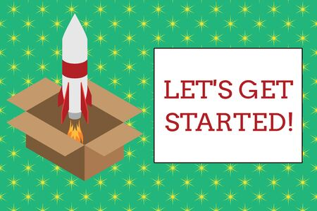 Word writing text Let S Get Started. Business photo showcasing encouraging someone to begin doing something Fire launching rocket carton box. Starting up project. Fuel inspiration Stockfoto