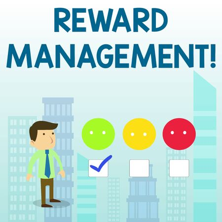Word writing text Reward Performance. Business photo showcasing Appraisal Recognize workers Relative Worth to the company White Male Questionnaire Survey Choice Checklist Satisfaction Green Tick Banco de Imagens